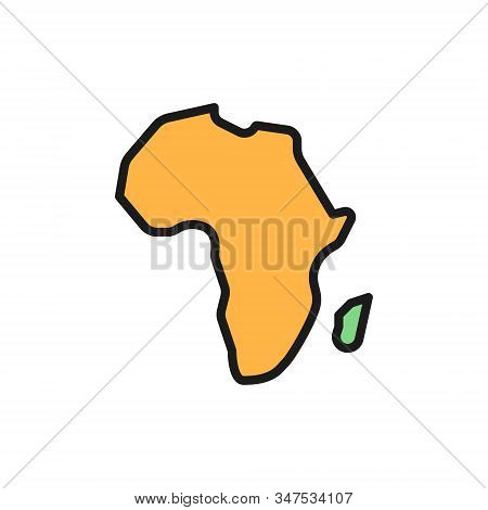 African continent, Africa flat color line icon. Isolated on white background stock photo