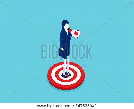 Isometric businessman speaks into megaphone. Concept isometric business advertising vector illustration concept, Company megaphone alert promotion, Isometric flat cartoon character style design. stock photo