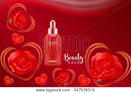 Beauty product ad design, red cosmetic container with advertising background ready to use, valentines concept skin care ad, illustration vector. stock photo
