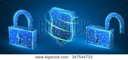 Lock, shield, unlock symbol abstract set. Low poly, wireframe, digital 3d vector illustration. Security, password, privacy protection concept, image on blue neon background. Abstract polygonal sign stock photo