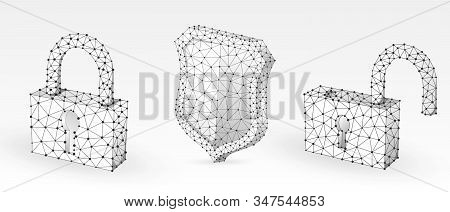 Lock, shield, unlock symbol abstract set. Low poly, wireframe, digital 3d vector illustration. Security, password, privacy protection concept image on white origami background. Abstract polygonal sign stock photo
