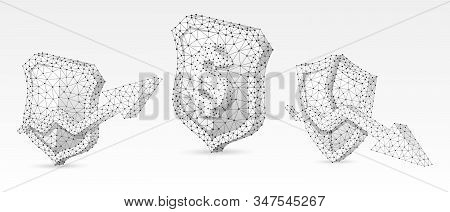 Security shield with USD, growth and downtrend arrow symbols set. Low poly, wireframe, digital 3d vector illustration. Abstract polygonal Money protection concept, image on white origami background stock photo