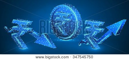 Rupee Golden Coin, growth and downtrend arrow symbols set. Low poly, wireframe, digital 3d vector illustration. Abstract polygonal Indian Money flow concept, image on blue neon background stock photo