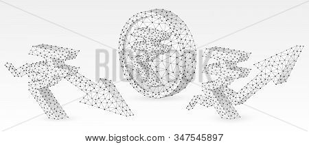 Rupee Golden Coin, growth and downtrend arrow symbols set. Low poly, wireframe, digital 3d vector illustration. Abstract polygonal Indian Money flow concept, image on white origami background stock photo
