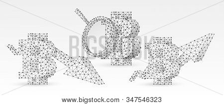 Bitcoin analytics, growth and downtrend arrow symbols set. Low poly, wireframe, digital 3d vector illustration. Abstract polygonal Web Money analysis and flow concept image on white origami background stock photo