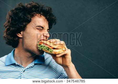 Side view of close-up portrait of young handsome man eating a healthy burger. Hungry man in a fast food restaurant eating a hamburger outdoors. Man with curly hair having street food and eat a burger. stock photo