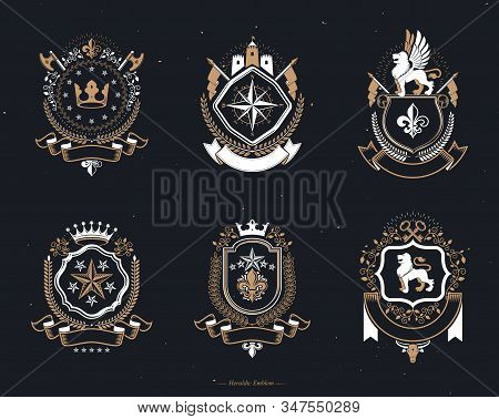 Vector vintage heraldic Coat of Arms designed in award style. Medieval towers, armory, royal crowns, stars and other graphic design elements collection. stock photo