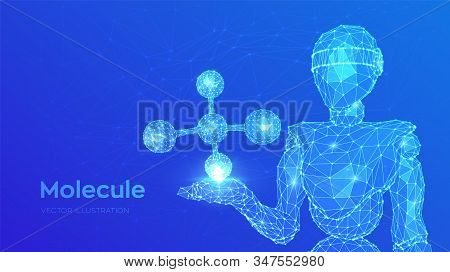 Molecule Structure. Low poly abstract Molecule. Dna, atom, neurons. Molecules and chemical formulas. Abstract 3d low polygonal robot holding Molecule. Vector illustration. stock photo