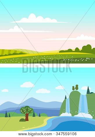 Set Countryside Waterfall rural mountaine landscapes green hill. Panorama nature fields blue sky clouds sun rural. Green tree and grass rural land. Flat cartoon trendy style vector illustration stock photo