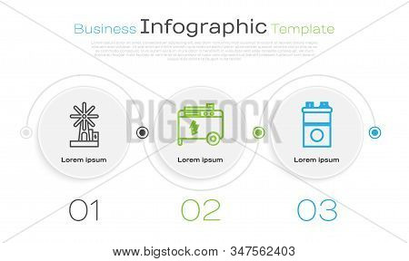 Set line Wind turbine, Portable power electric generator and Car battery. Business infographic template. Vector stock photo