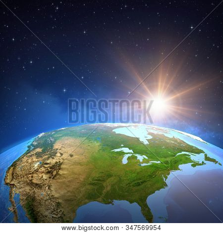 Surface of the Planet Earth viewed from a satellite, focused on North America, sun shining in deep space. 3D illustration - Elements of this image furnished by NASA. stock photo