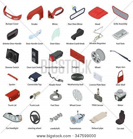 Car parts icons set. Isometric set of car parts vector icons for web design isolated on white background stock photo