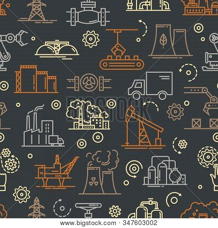 An industrial seamless background for booklets or a site consisting of linear icons on the theme of industry and production. Dark vector seamless industrial pattern. stock photo