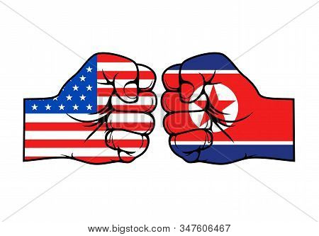 North Korea vs USA, military conflict fist punch. Vector America and North Korea flags on hands symbols, confrontation crisis, government politics and nuclear war aggression stock photo
