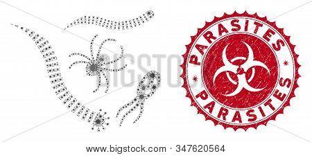 Coronavirus collage parasites icon and round grunge stamp watermark with Parasites phrase. Mosaic vector is designed with parasites icon and with randomized viral items. stock photo