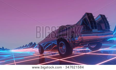 Retro futuristic car in 80s style moves on a virtual neon landscape. 3d illustration. stock photo