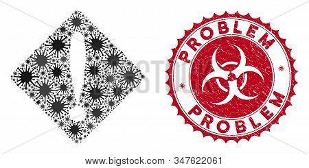 Coronavirus mosaic problem icon and round grunge stamp seal with Problem text. Mosaic vector is created with problem icon and with randomized contagion items. Problem stamp seal uses biohazard style, stock photo