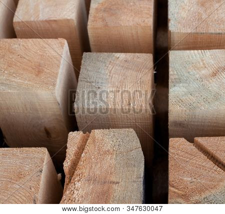 Wooden beams. Planks. Air-drying timber stack. Wood air drying (seasoning lumber or wood seasoning). Timber. Lumber. Close-up. stock photo