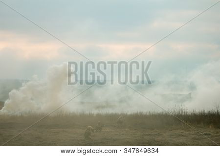 Two air force jets bombing targets at the military trainings stock photo