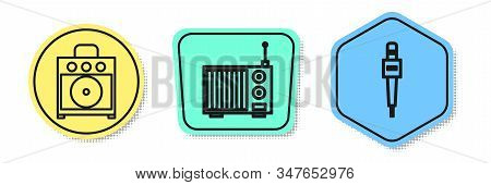Set line Guitar amplifier, Radio with antenna and Microphone. Colored shapes. Vector stock photo