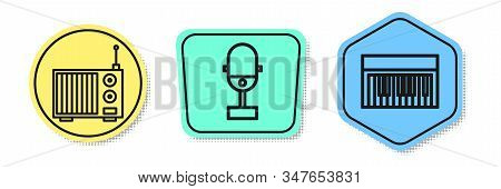 Set line Radio with antenna, Microphone and Music synthesizer. Colored shapes. Vector stock photo