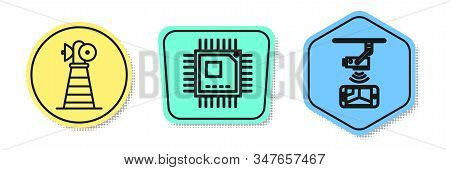 Set line Antenna, Processor with microcircuits CPU and Wireless Controlling CCTV security camera. Colored shapes. Vector stock photo