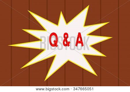 Text sign showing Q And A. Conceptual photo defined as questions being asked and answers Wooden texture background. Timber wall pattern texture. Abstract Texture. stock photo