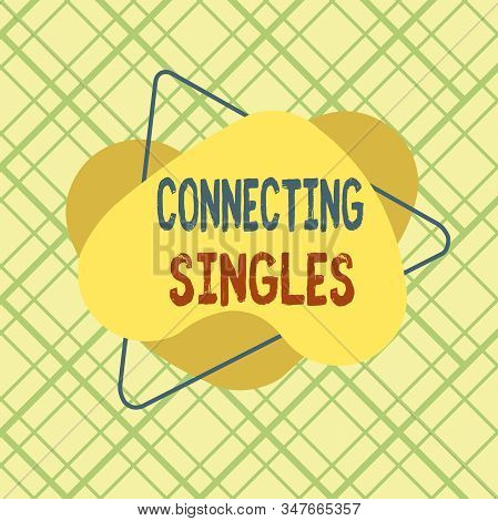 Conceptual hand writing showing Connecting Singles. Business photo text online dating site for singles with no hidden fees Asymmetrical format pattern object outline multicolor design. stock photo