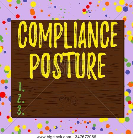 Word writing text Compliance Posture. Business concept for analysisage the defense of enterprise and assure resources Square rectangle unreal cartoon wood wooden nailed stuck on coloured wall. stock photo