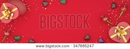 Happy valentines day, valentines day background, red rose flower heart shape gift box , chocolate candy, gold confetti glitter on background, valentines gift, valentines day heart, 3D illustration. stock photo