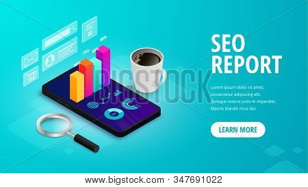 SEO report isometric web banner concept with 3d graph data on phone screen on abstract background. Marketing research, digital analytics for business. Vector illustration for mobile app, advert, web stock photo