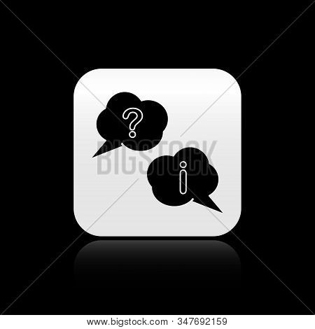Black Speech bubbles with Question and Exclamation icon isolated on black background. FAQ sign. Copy files, chat speech bubble and chart. Silver square button. Vector Illustration stock photo