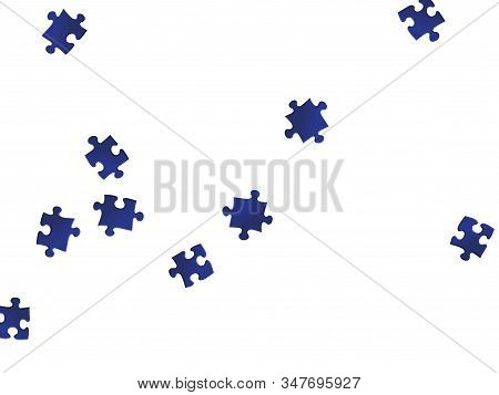 Business mind-breaker jigsaw puzzle dark blue pieces vector background. Group of puzzle pieces isolated on white. Challenge abstract concept. Jigsaw pieces clip art. stock photo