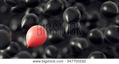 Black balloons with one pink flying in the air. Greeting card. 3d illustration stock photo