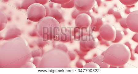 Pink balloons flying in the air. Greeting card. 3d illustration stock photo
