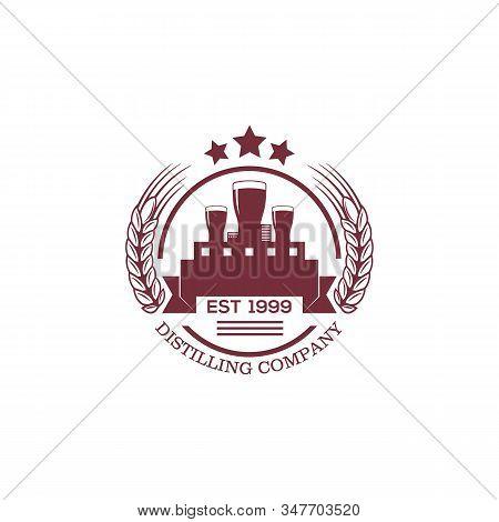 distilling company logo badge, distilling company logo designs good for your brand company stock photo