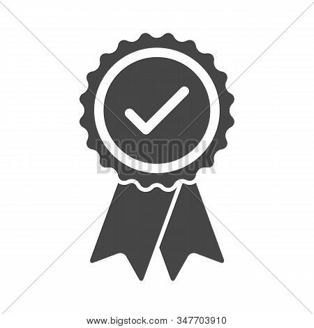 Approved certified rosette icon in flat style. Accredited and recommended medal symbol isolated on white background stock photo