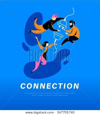 Connection abstract metaphor. People connecting plug and socket together. Secure internet connection, partnership, togetherness, communication concept. Vector flat illustration. stock photo