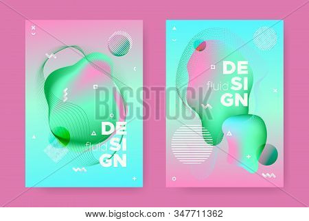 Trendy Abstract Geometric Background. 70s or 80s Effect. Green Gradient Flow Shapes. Graphic 3d Dynamic Banners. Abstract Geometric Elements. Fluid Gradient Shapes. Memphis Geometric Background. stock photo