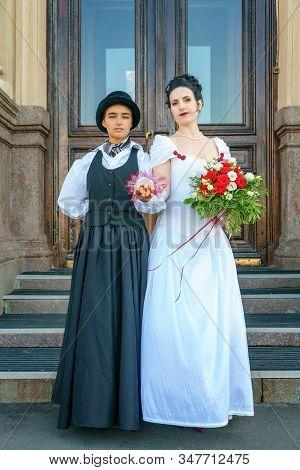 beautiful wedding same sex marriage two women stock photo