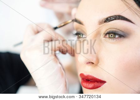 Professional eyebrow correction. Woman having professional eyebrows correction in studio. Portrait of beautiful girl with red lips. stock photo