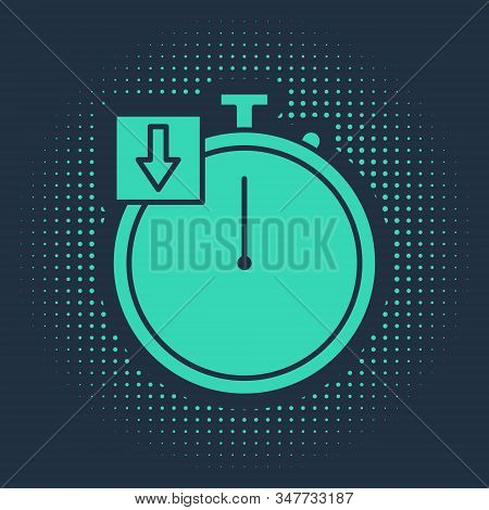 Green Stopwatch icon isolated on blue background. Time timer sign. Chronometer. Abstract circle random dots. Vector Illustration stock photo