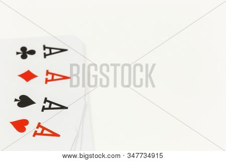 Four aces, playing cards gambling background stock photo