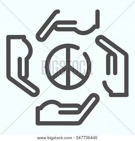 Hands around peace symbol line icon. Peace symbol in center of four hands vector illustration isolated on white. Hands as arrows around pacific symbol outline style design, designed for web and app. Eps 10. stock photo
