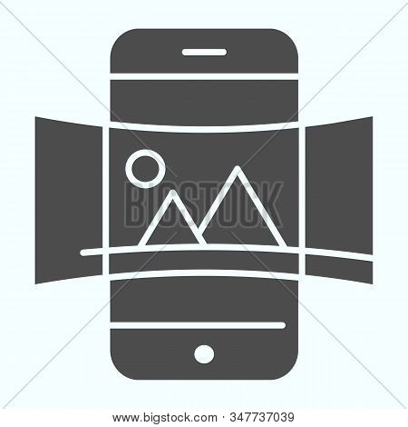 Panorama solid icon. Picture panorama in smartphone vector illustration isolated on white. Nature panorama photo with picture glyph style design, designed for web and app. Eps 10. stock photo