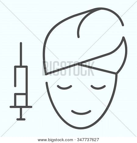Face mesotherapy thin line icon. Beauty procedure vector illustration isolated on white. Salon face procedure outline style design, designed for web and app. Eps 10. stock photo