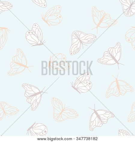 Vector Monarch Butterflies Lineart on Light Blue seamless pattern background. stock photo