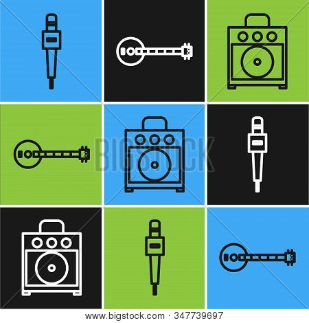 Set line Microphone, Guitar amplifier and Banjo icon. Vector stock photo