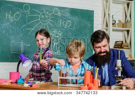 Practical knowledge. Measurable outcomes. Basic knowledge. Experience and knowledge. Study hard. Critical thinking and problem solving. Child care and development. Science club afterschool program stock photo