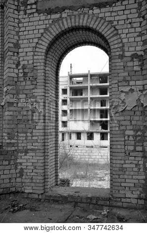 Abandoned construction site of hospital. Abandoned at 1991,during Ukrainian undependence crisis. Kiev,Ukraine stock photo
